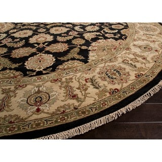 Hand-Knotted Oriental Black Area Rug (6' X 6')