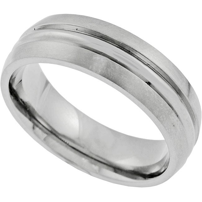 Vance Co. Men's Titanium Band with Center Groove Ring