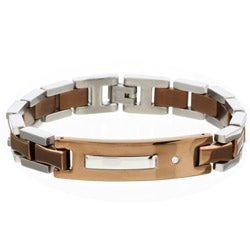 Brown Stainless Steel and Diamond ID Bracelet