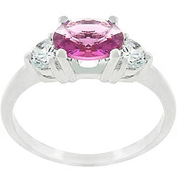 Kate Bissett Silvertone Triplet Round CZ Engagement-style Ring