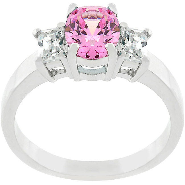 Engagement Rings On Sale Newcastle: Shop Kate Bissett Silvertone Oval-cut Pink Ice CZ