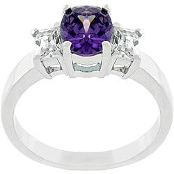 Kate Bissett Silvertone Purple CZ Engagement-style Ring