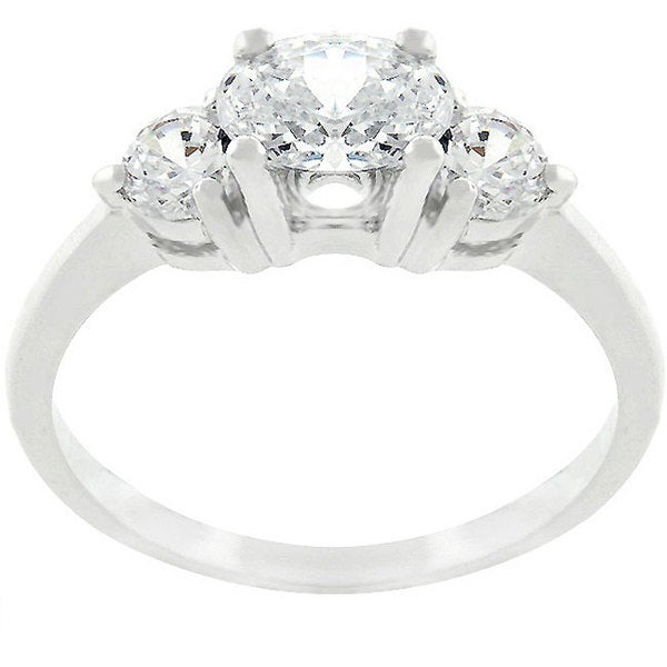 Kate Bissett Silvertone Triplet Oval CZ Engagement-style Ring