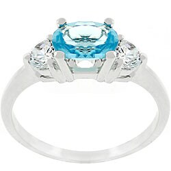 Kate Bissett Silvertone Blue and White CZ Engagement-style Ring