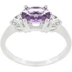 Kate Bissett Silvertone Purple and Clear CZ Engagement-style Ring