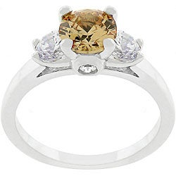 Kate Bissett Silvertone and Champagne CZ Triplet Ring
