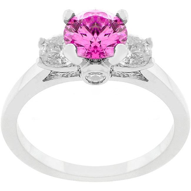 Kate Bissett Silvertone and Pink CZ Triplet Polished Ring