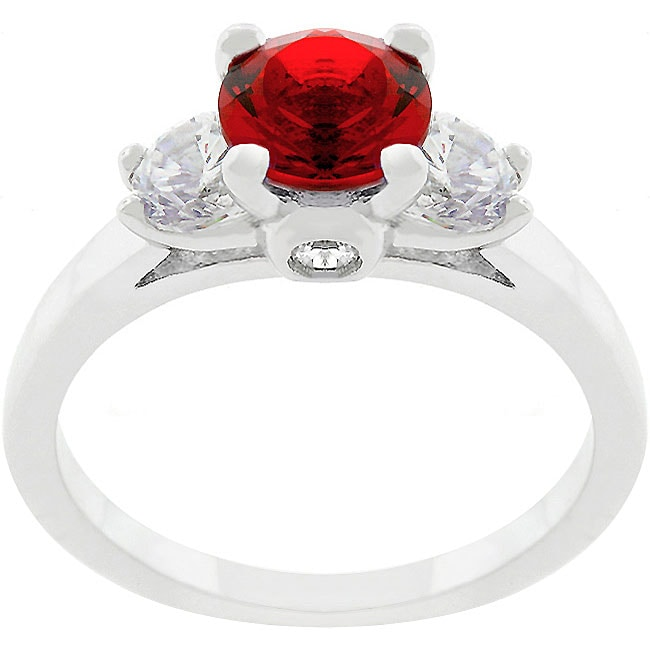 Kate Bissett Silvertone  Red and Clear CZ Engagement-style Ring