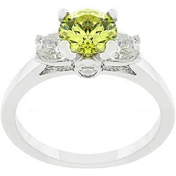 Kate Bissett Silvertone and Green CZ Triplet Ring