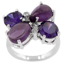 Kate Bissett Silvertone Purple Cubic Zirconia Flower Ring