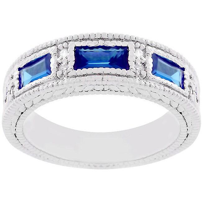 Kate Bissett Silvertone Blue CZ Royal Cocktail Ring