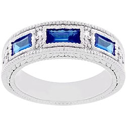 Kate Bissett Silvertone Blue CZ Royal Cocktail Ring