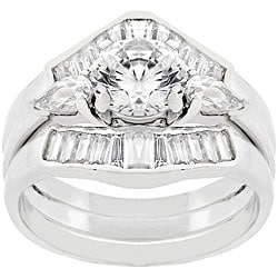 Kate Bissett Sterling Silver Round Cut CZ Engagement Ring