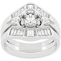 Kate Bissett Sterling Silver Round-cut CZ Engagement Ring