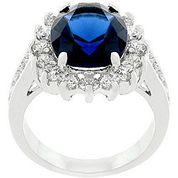 Kate Bissett Silvertone  Classic Blue Bridal-inspired Ring