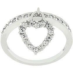 Kate Bissett Silvertone Heart Charm CZ Ring (4 options available)
