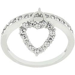 Kate Bissett Silvertone Heart Charm CZ Ring