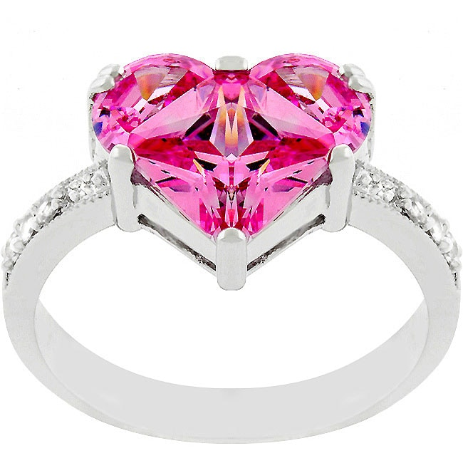 Kate Bissett Silvertone Pink Ice CZ Heart Ring
