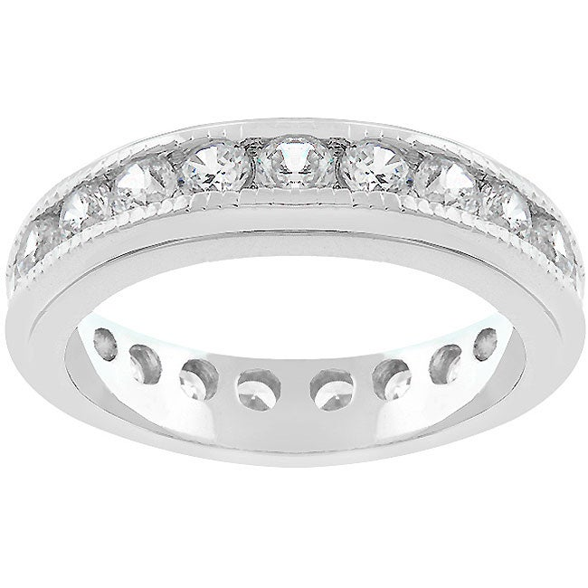 Kate Bissett Stackable Silvertone and Clear CZ Eternity Band