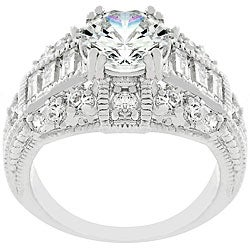 Kate Bissett Silvertone and Baguette CZ Showcase Ring