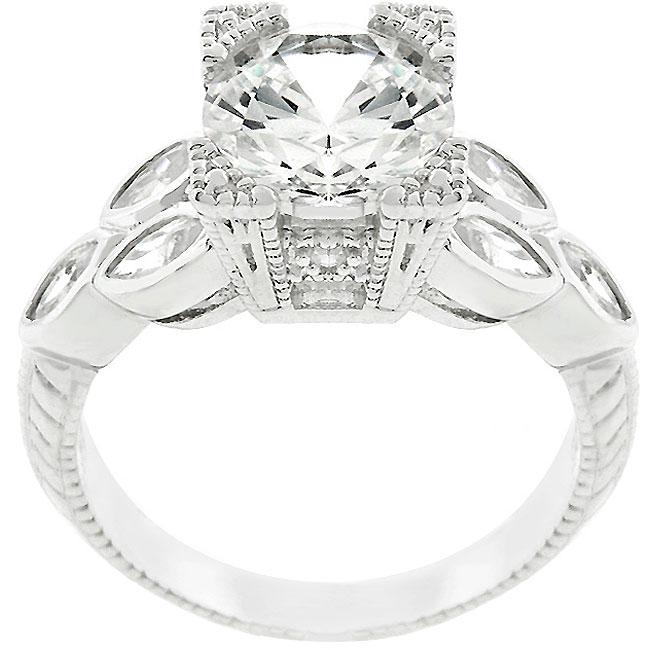 Kate Bissett Sterling Silver Vintage-inspired Cubic Zirconia Ring
