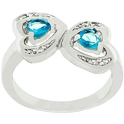 Kate Bissett Silvertone Aqua CZ Connecting Hearts Ring