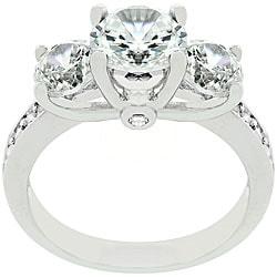 Kate Bissett Silvertone Three-stone CZ Engagement Ring