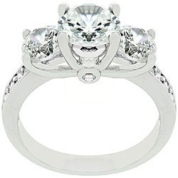 Kate Bissett Silvertone Three-stone CZ Engagement Ring