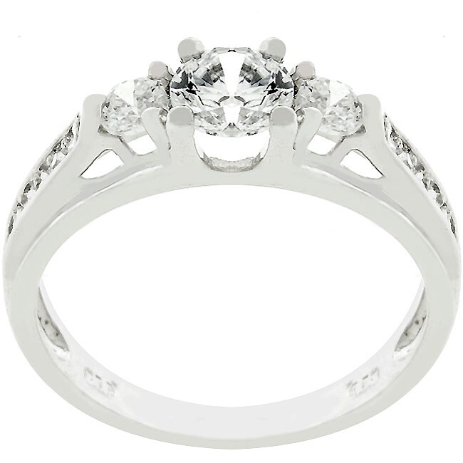 Kate Bissett Sterling Silver Clear CZ Engagement Ring