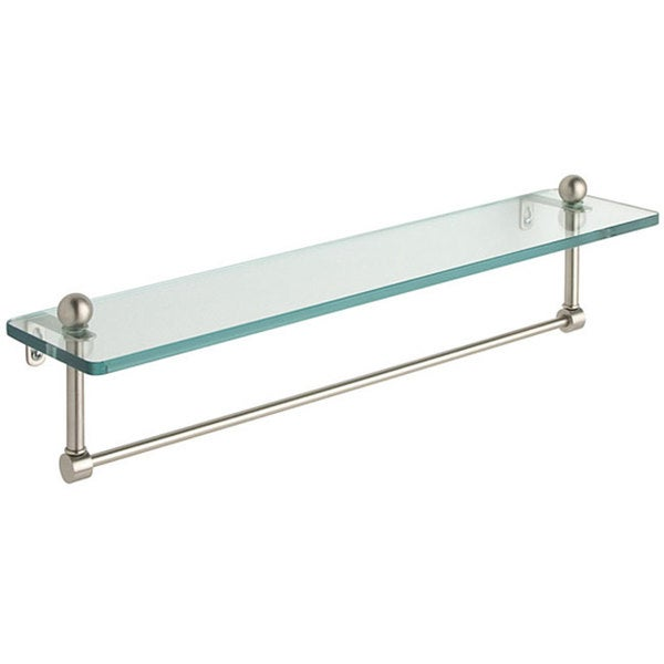 Glass 16 Inch Bathroom Shelf With Towel Bar