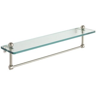 Glass 16-inch Bathroom Shelf with Towel Bar - 16""