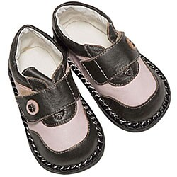 Papush Pink and Brown Leather Infant Walking Shoes