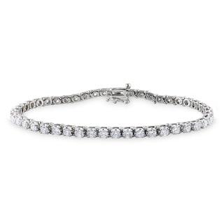 Miadora Signature Collection 14k White Gold 4ct TDW Diamond Tennis Bracelet