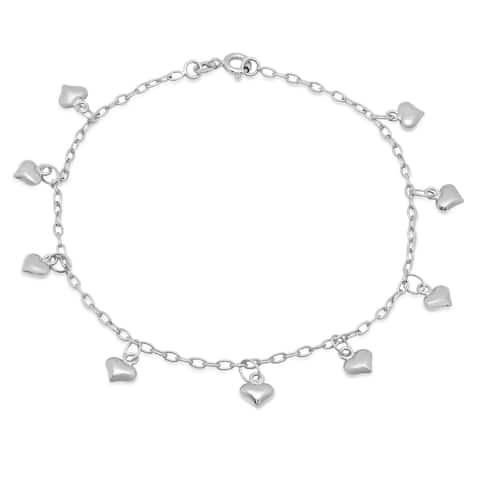 Roberto Martinez Sterling Silver Dangling Heart Anklet (9 Inch)