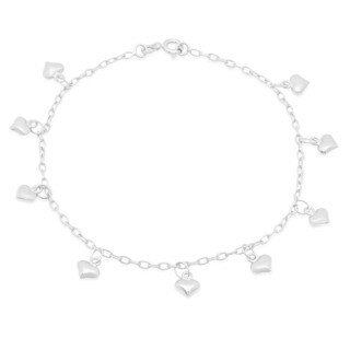 Sterling Silver 9-inch Dangling Heart Anklet