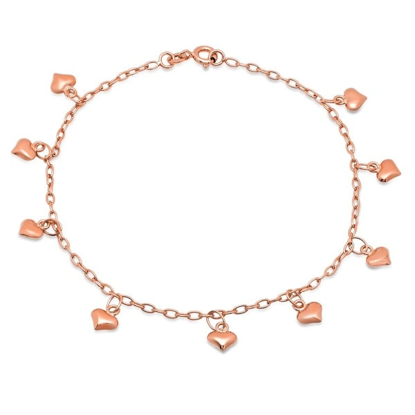 14k Yellow Gold Figaro Link Dangling Heart Anklet 9inch Fine Jewelry Ideal Gifts For Women