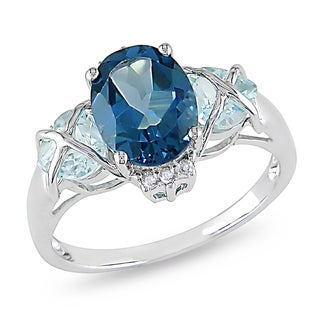 Miadora 10k Gold Blue Topaz and Diamond Accent Ring