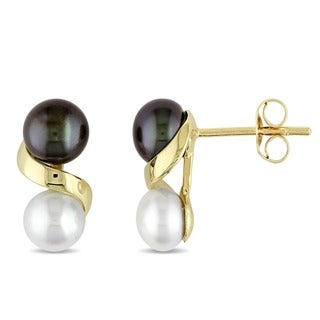 Miadora 10k Gold Black and White Cultured Freshwater Pearl Earrings (5.5-6 mm)