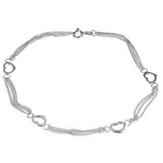 Sterling Silver 10-inch Triple Curb Link Heart Stations Anklet