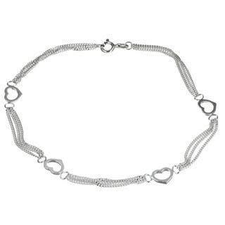 Sterling Silver 10-inch Triple Curb Link Heart Stations Anklet|https://ak1.ostkcdn.com/images/products/3343211/P11435633.jpg?impolicy=medium