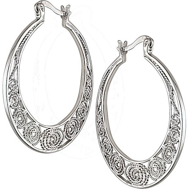Miadora Sterling Silver Carved Hoop Earrings