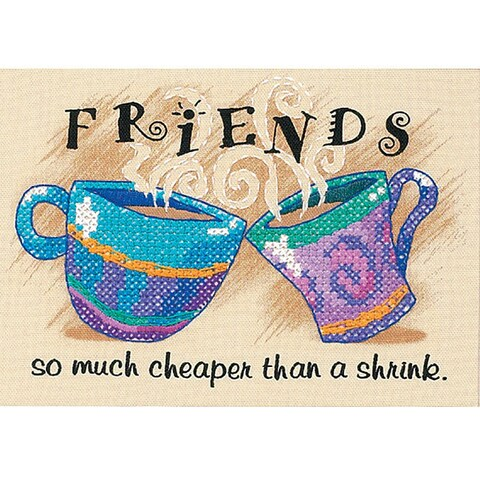 'Cheaper Than A Shrink' Stamped Cross Stitch Kit