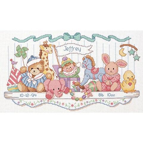 Toy Shelf Birth Record Counted Cross Stitch Kit
