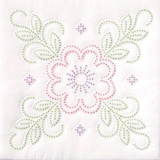 Stamped Floral Design White Quilt Set (6 Quilt Blocks)