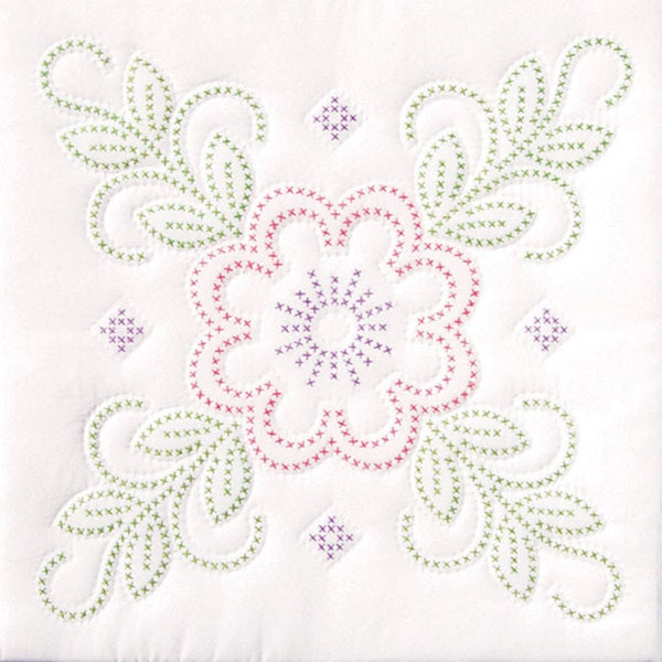 Stamped Floral Design White Quilt Set (6 Quilt Blocks)