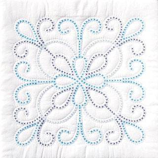 Stamped Design White Quilt Set (Set of 6)