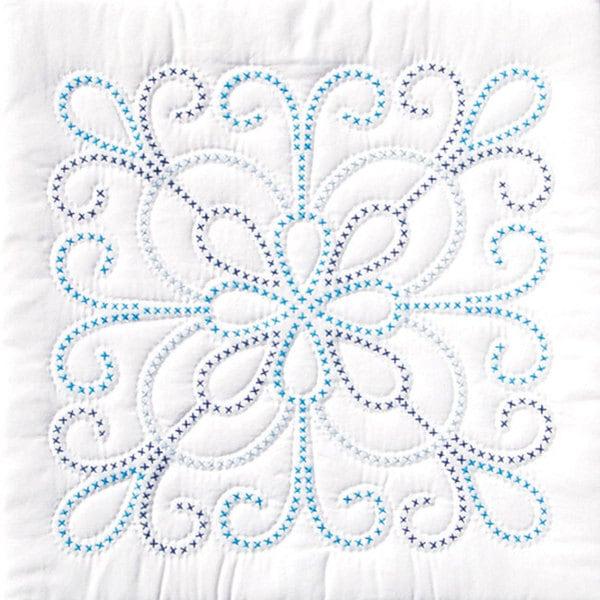 Stamped Design White Quilt Set (Set of 6)