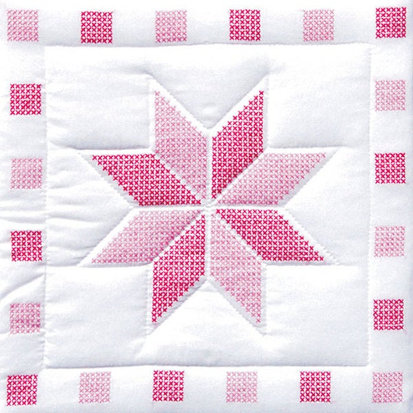 Jack Dempsey Stamped Pink/White Quilt Blocks