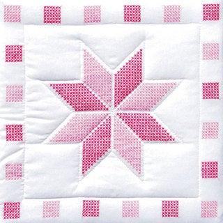 Jack Dempsey Stamped Pink/White Quilt Blocks