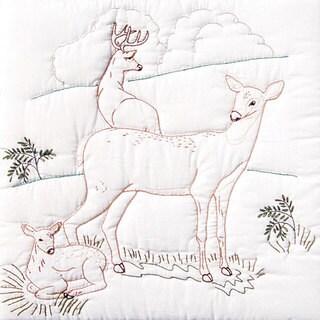 Stamped White Deer Family Quilt Blocks (Set of 6)